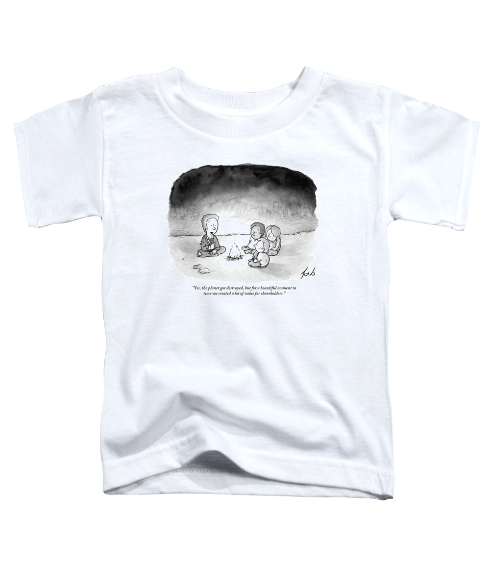 Armageddon Toddler T-Shirt featuring the drawing A Man And 3 Children Sit Around A Fire by Tom Toro