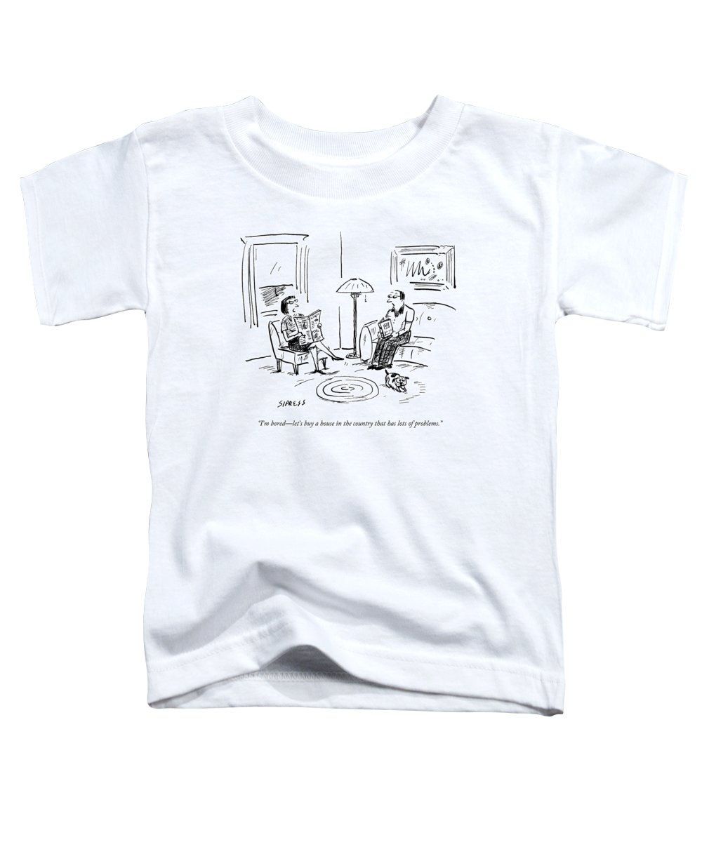 Flip Toddler T-Shirt featuring the drawing A Man And A Woman Talk In Their Living Room by David Sipress