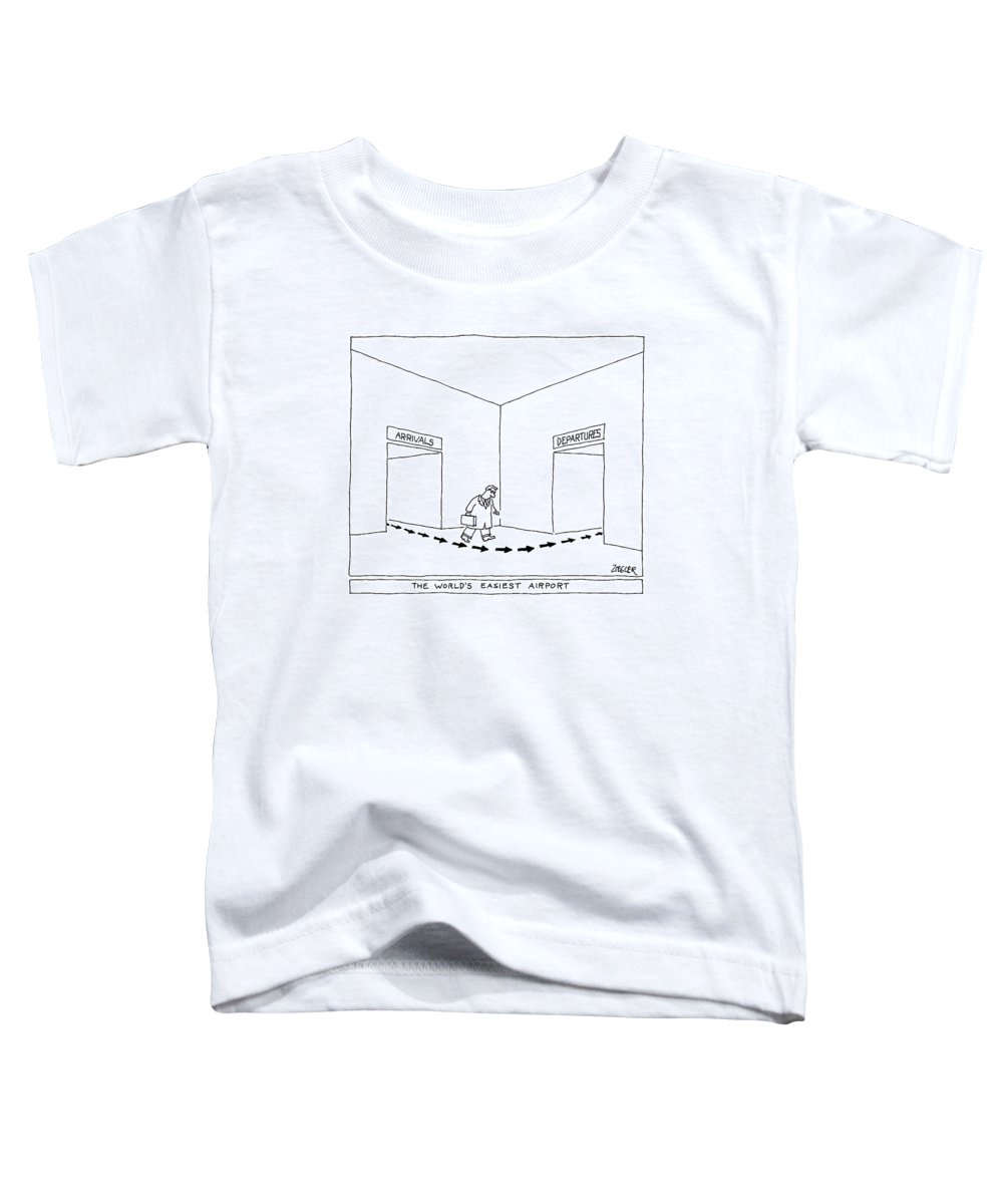 Captionless Airport Toddler T-Shirt featuring the drawing A Man Follows Arrows That Lead From A Doorway by Jack Ziegler