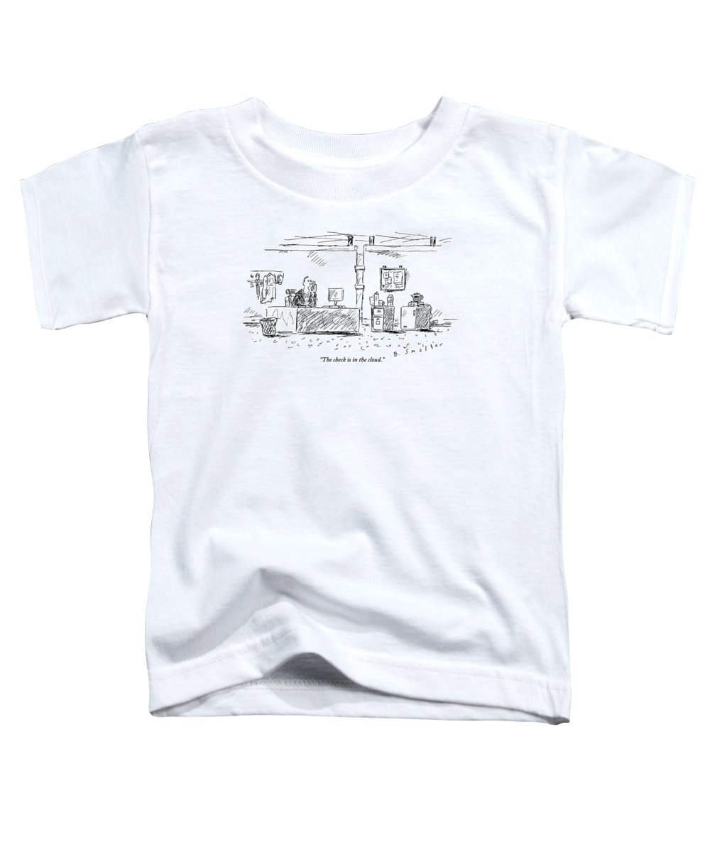 Computers Toddler T-Shirt featuring the drawing A Man In An Office by Barbara Smaller