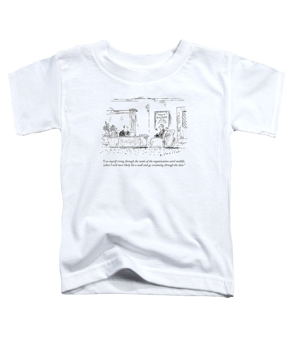 #condenastnewyorkercartoon Toddler T-Shirt featuring the drawing A Man Interviews For A Job by Barbara Smaller