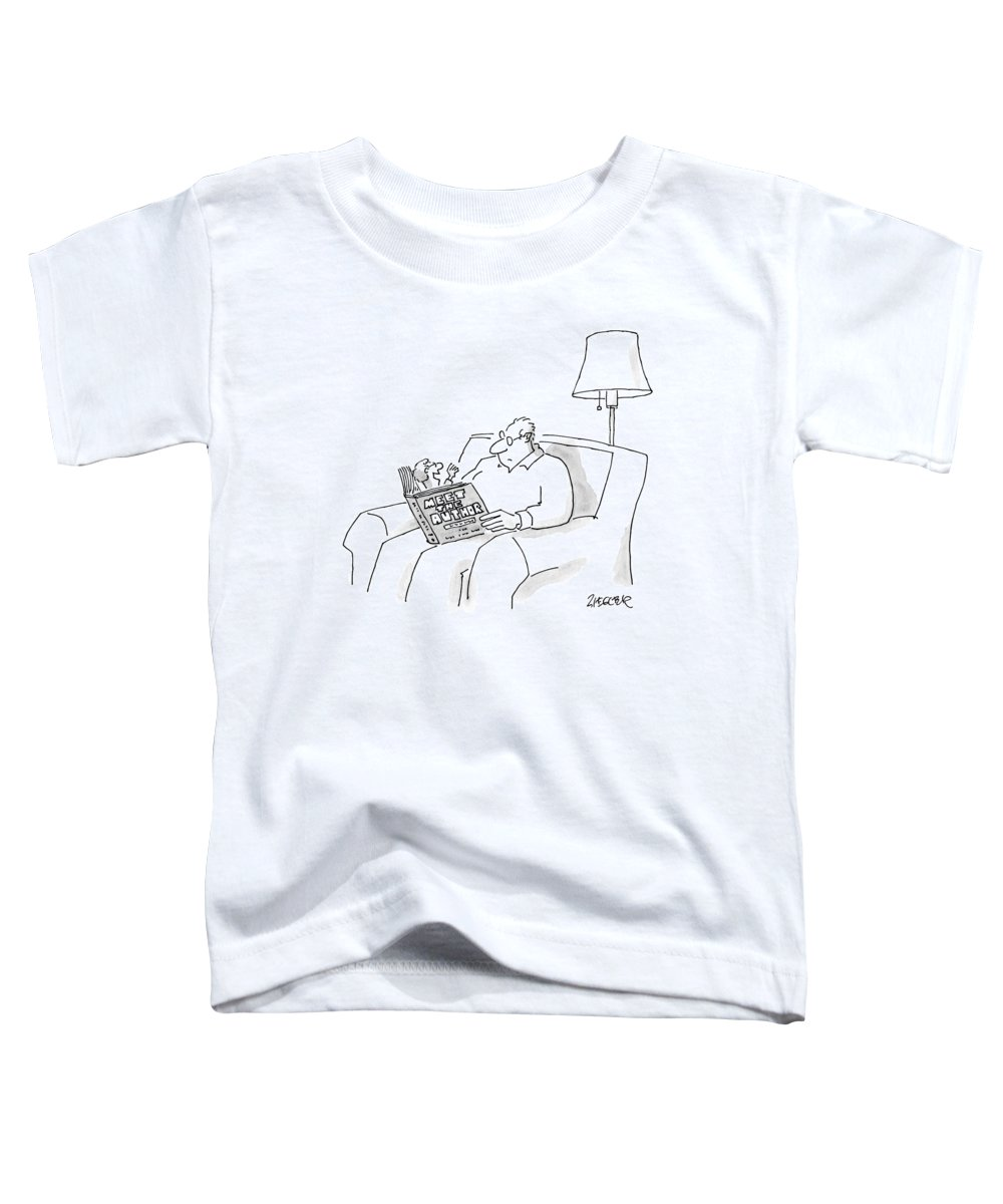 Book Toddler T-Shirt featuring the drawing A Man Reads A Book Entitled by Jack Ziegler