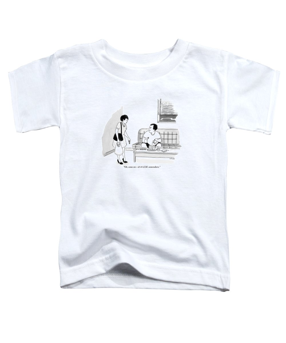 Pancakes Toddler T-Shirt featuring the drawing A Man Sits Pouring Syrup Over A Stack Of Pancakes by Emily Flake