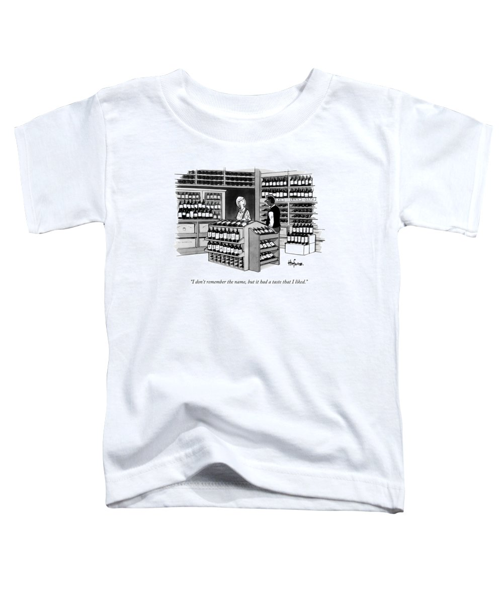 Wine Toddler T-Shirt featuring the drawing A Man Talking To An Employe At A Wine Store by Kaamran Hafeez