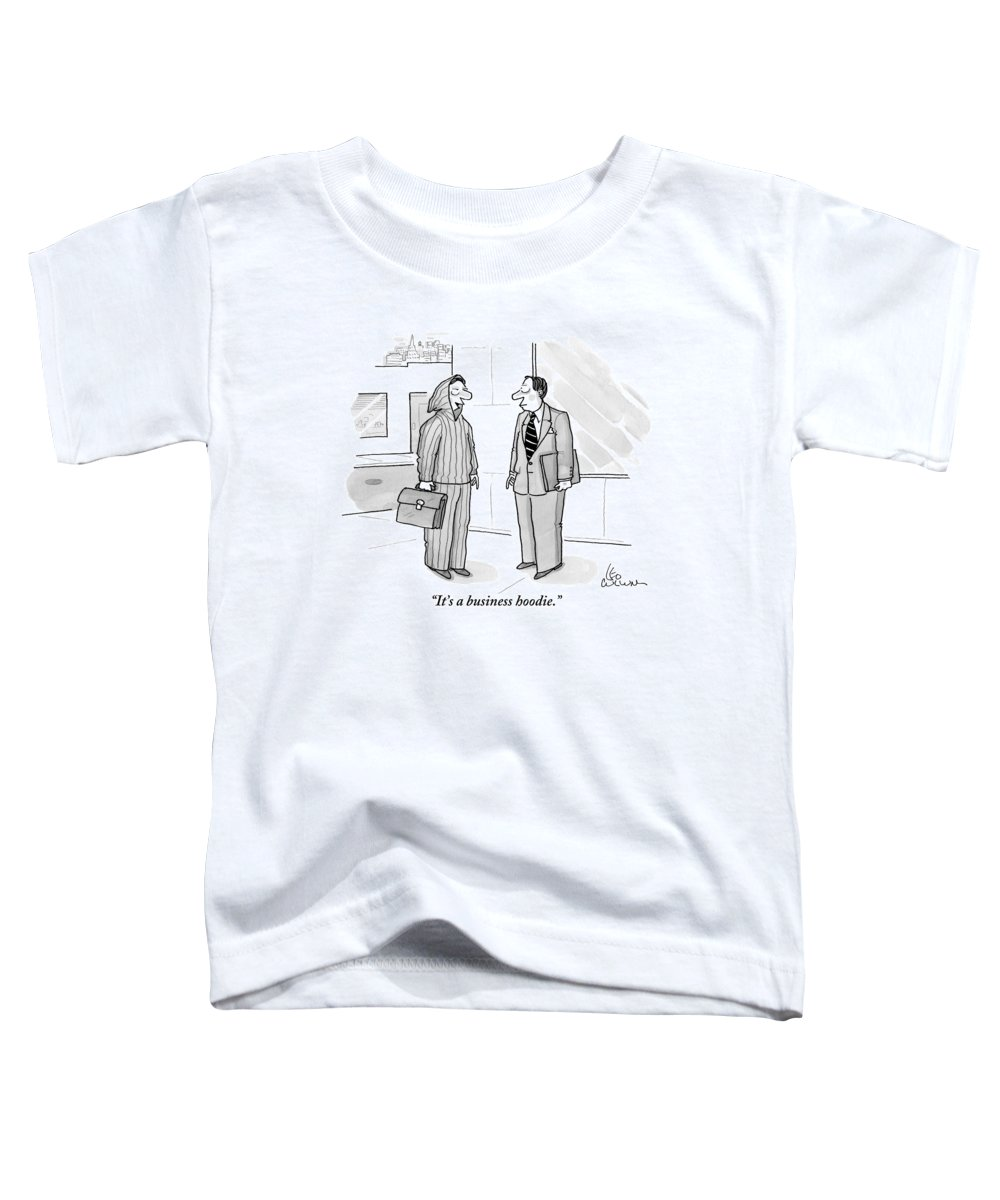 Men's Clothing Toddler T-Shirt featuring the drawing A Man Wearing A Hoodie Is Seen Speaking by Leo Cullum