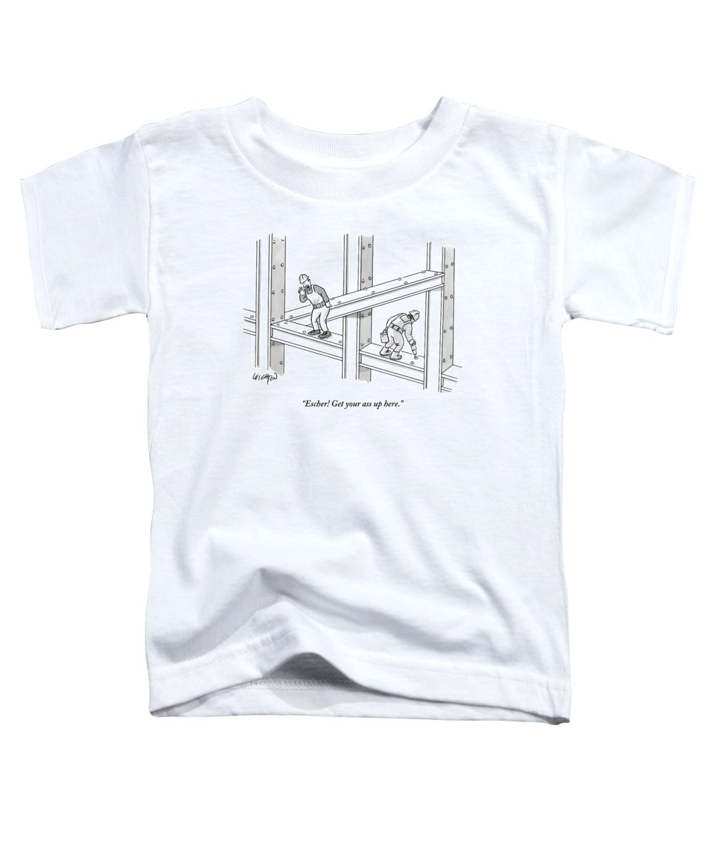 Construction Toddler T-Shirt featuring the drawing A Men Works On The Sky Scraper Beams by Robert Leighton
