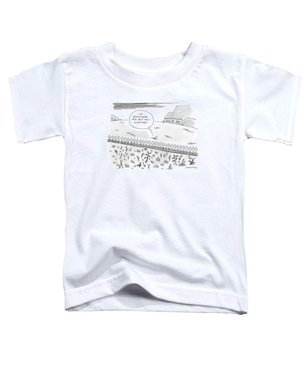 Greener Toddler T-Shirt featuring the drawing A Plot Of Grass Is Seen To Reflect As It Sits by Mick Stevens