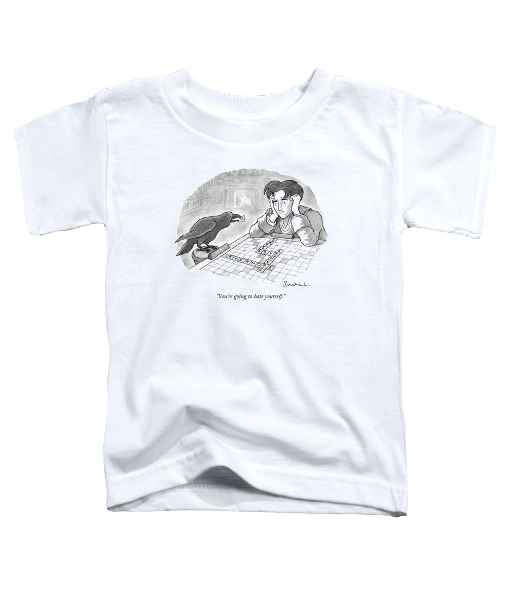 Edgar Allen Poe Toddler T-Shirt featuring the drawing A Raven Is About To Add An N To The Word Evermore by David Borchart