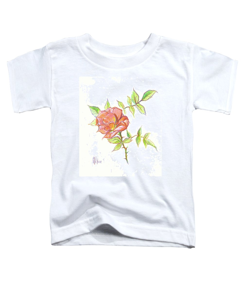 A Rose In Brigadoon Toddler T-Shirt featuring the drawing A Rose In Brigadoon by Kip DeVore