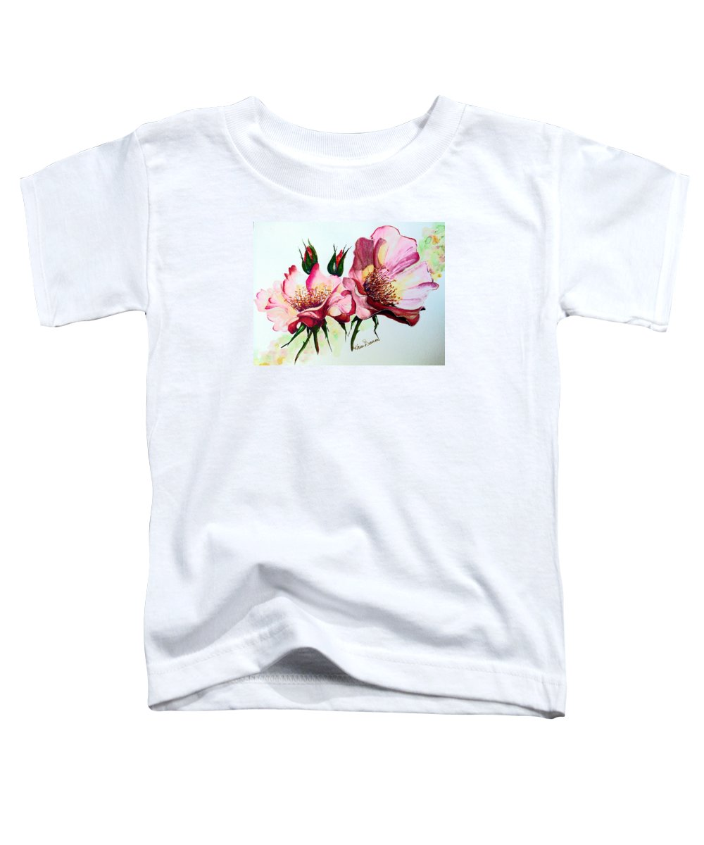 Flower Painting Toddler T-Shirt featuring the painting A Rose Is A Rose by Karin Dawn Kelshall- Best