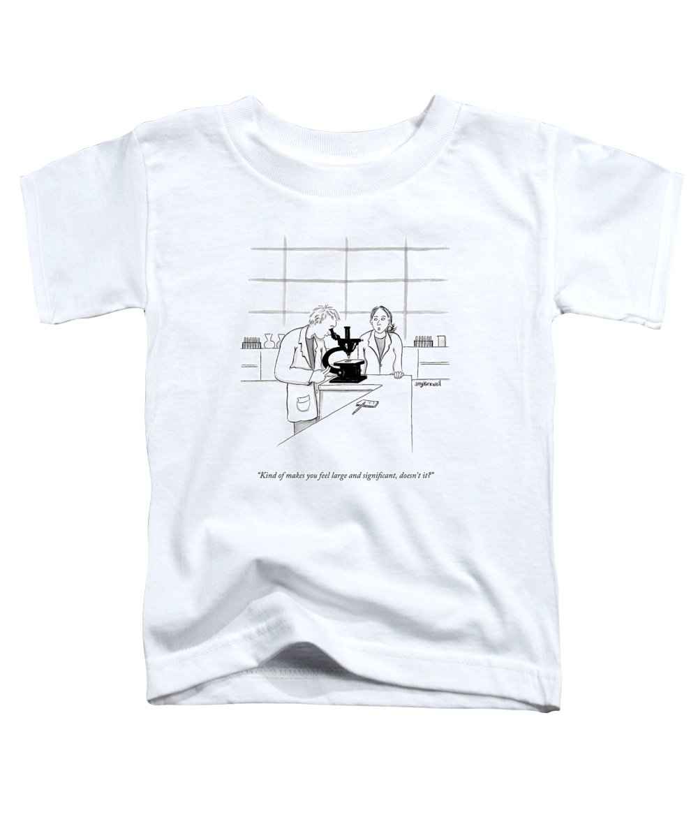 Science Toddler T-Shirt featuring the drawing A Scientist Looking Into A Microscope by Amy Kurzweil