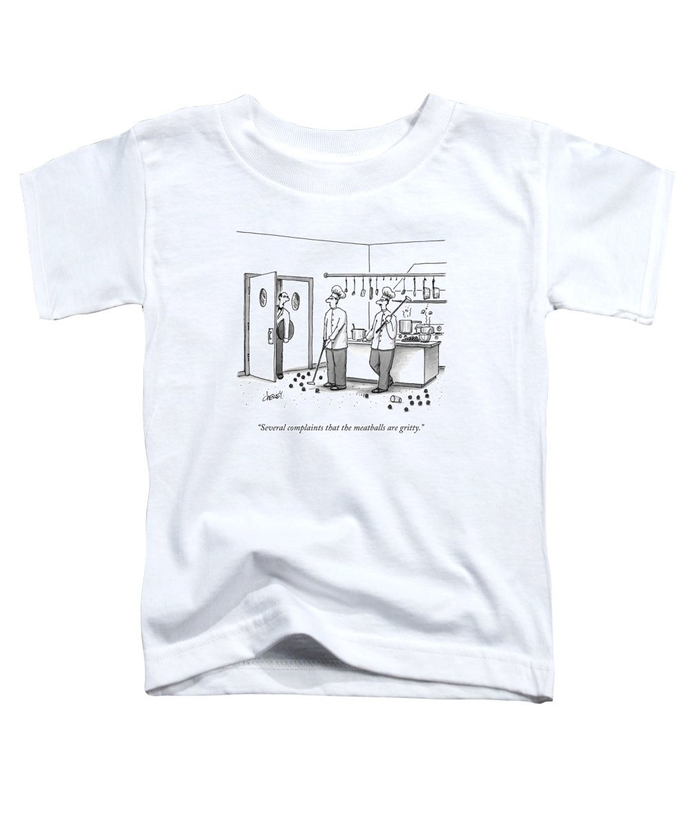 Chefs Toddler T-Shirt featuring the drawing A Waiter Speaks To Two Chefs In A Kitchen Who by Tom Cheney