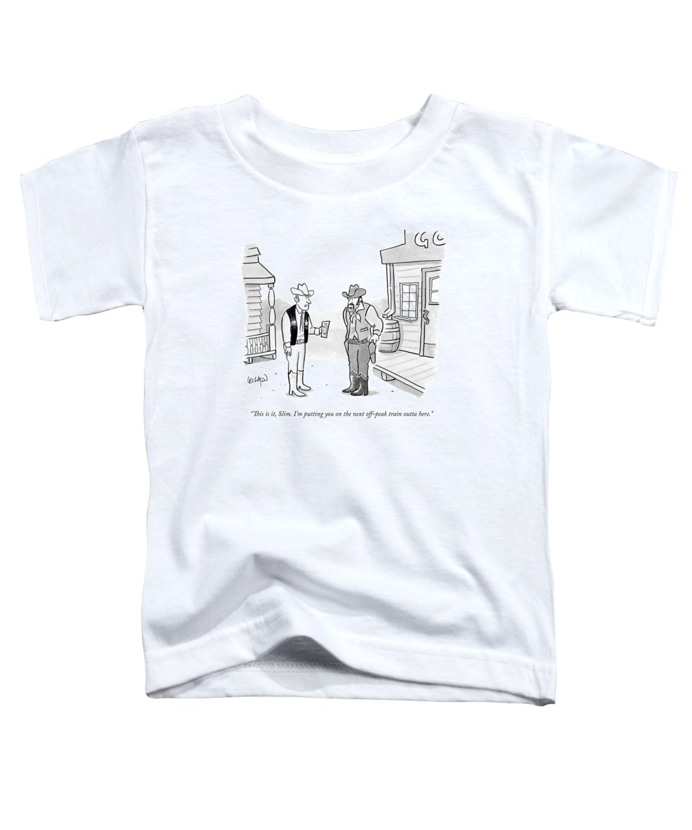 Metro-north Toddler T-Shirt featuring the drawing A Western Sheriff Hands A Ticket To An Outlaw by Robert Leighton