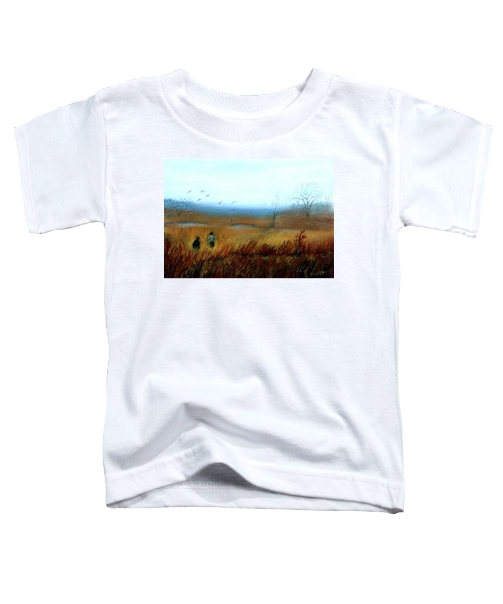 Figures Toddler T-Shirt featuring the painting A Winter Walk by Gail Kirtz