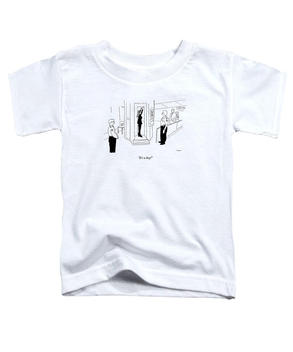 Airport Toddler T-Shirt featuring the drawing A Woman Hold Her Arms Up To Get An X-ray In An by Michael Shaw