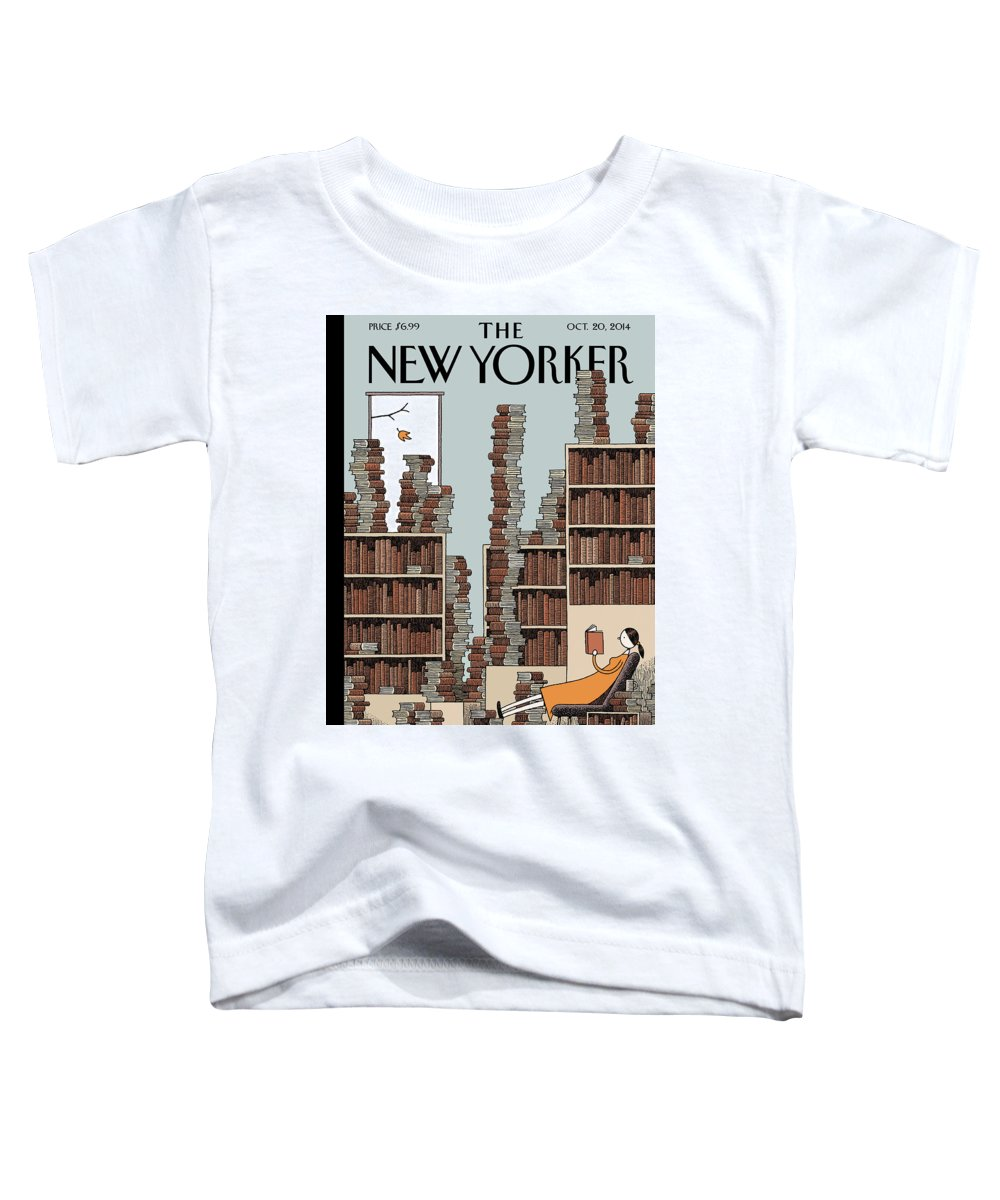 Books Toddler T-Shirt featuring the painting Fall Library by Tom Gauld