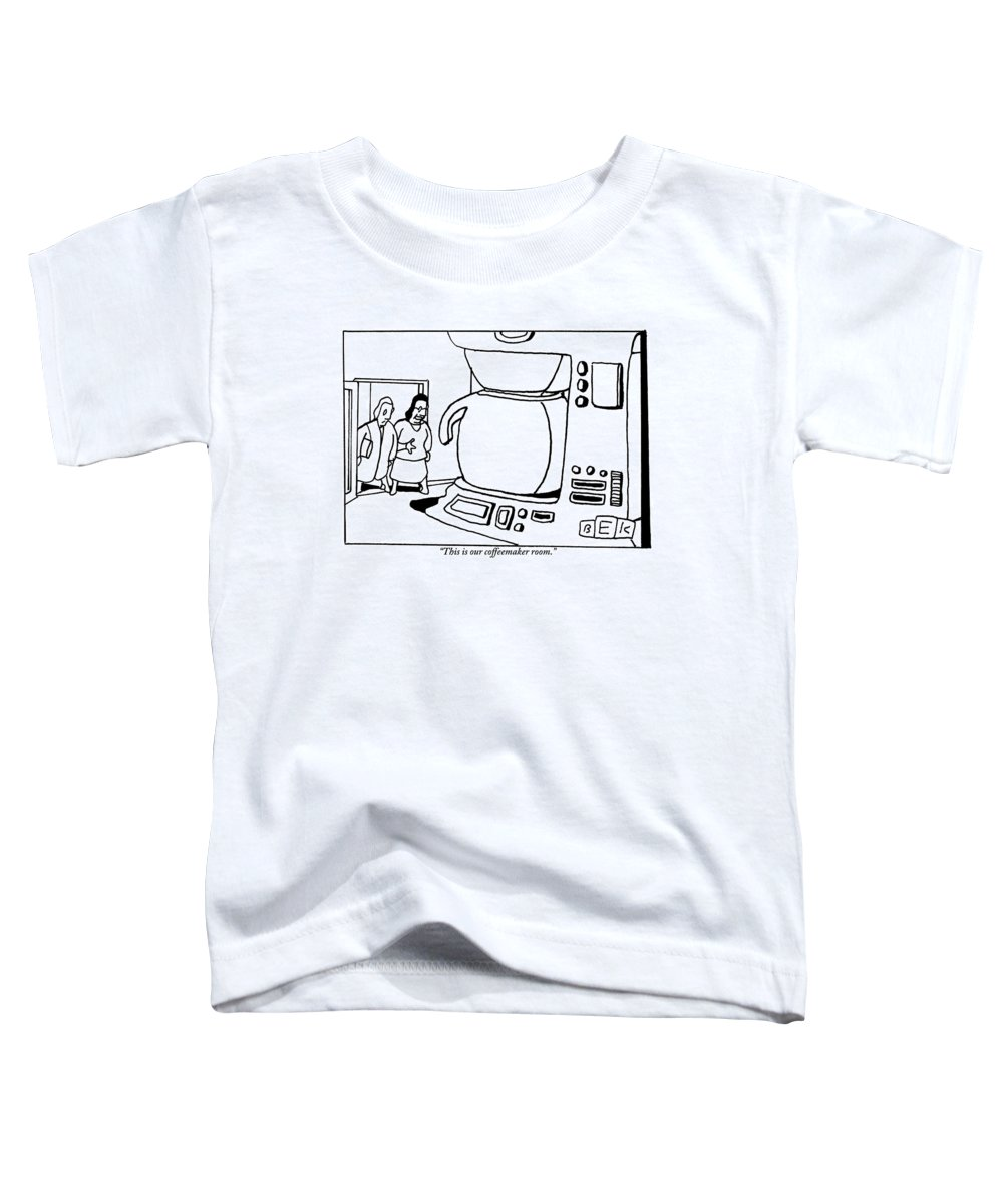 Coffee Toddler T-Shirt featuring the drawing A Woman Shows A Friend A Room In Her House That by Bruce Eric Kaplan