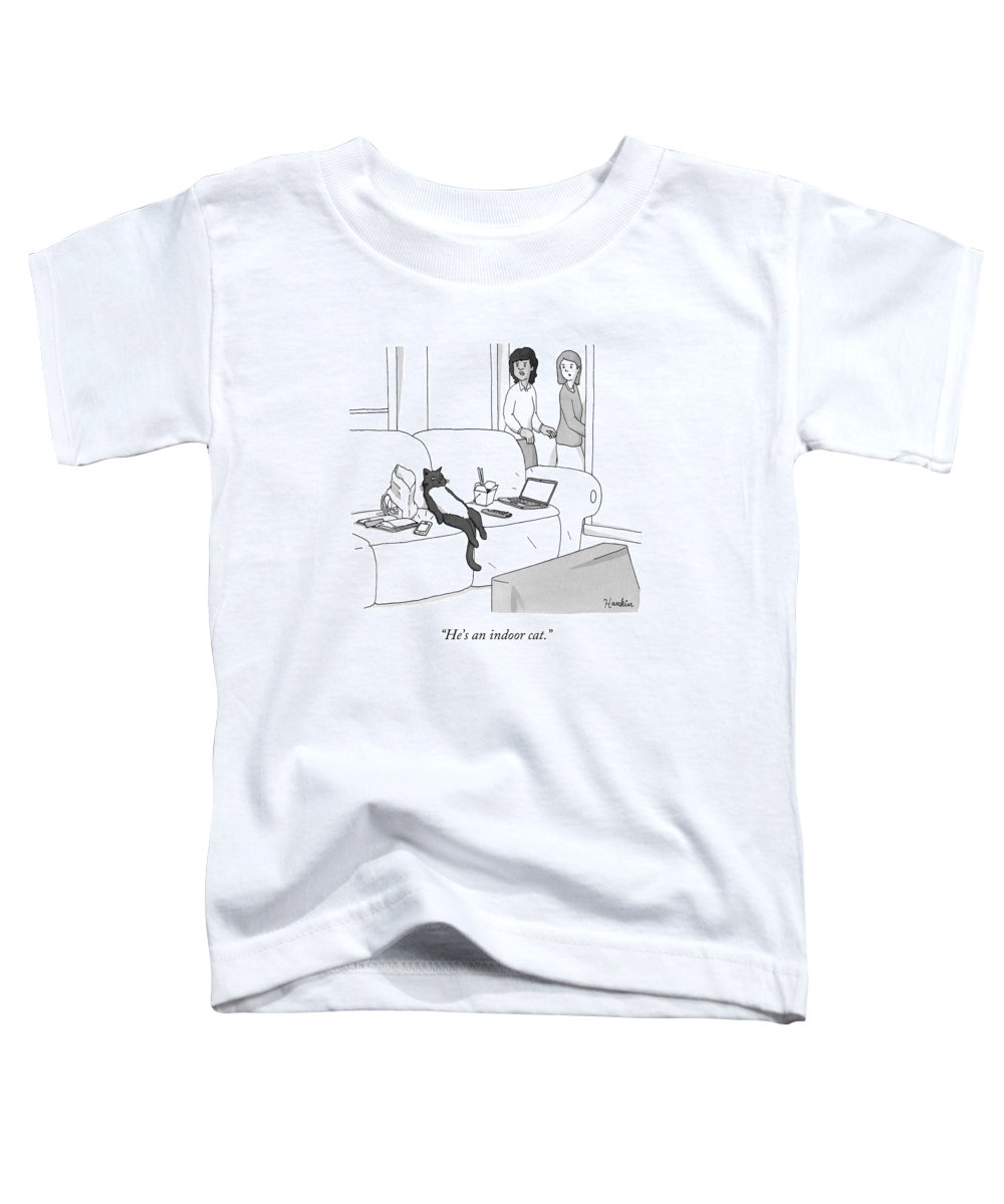 Pet Toddler T-Shirt featuring the drawing He's an Indoor Cat by Charlie Hankin
