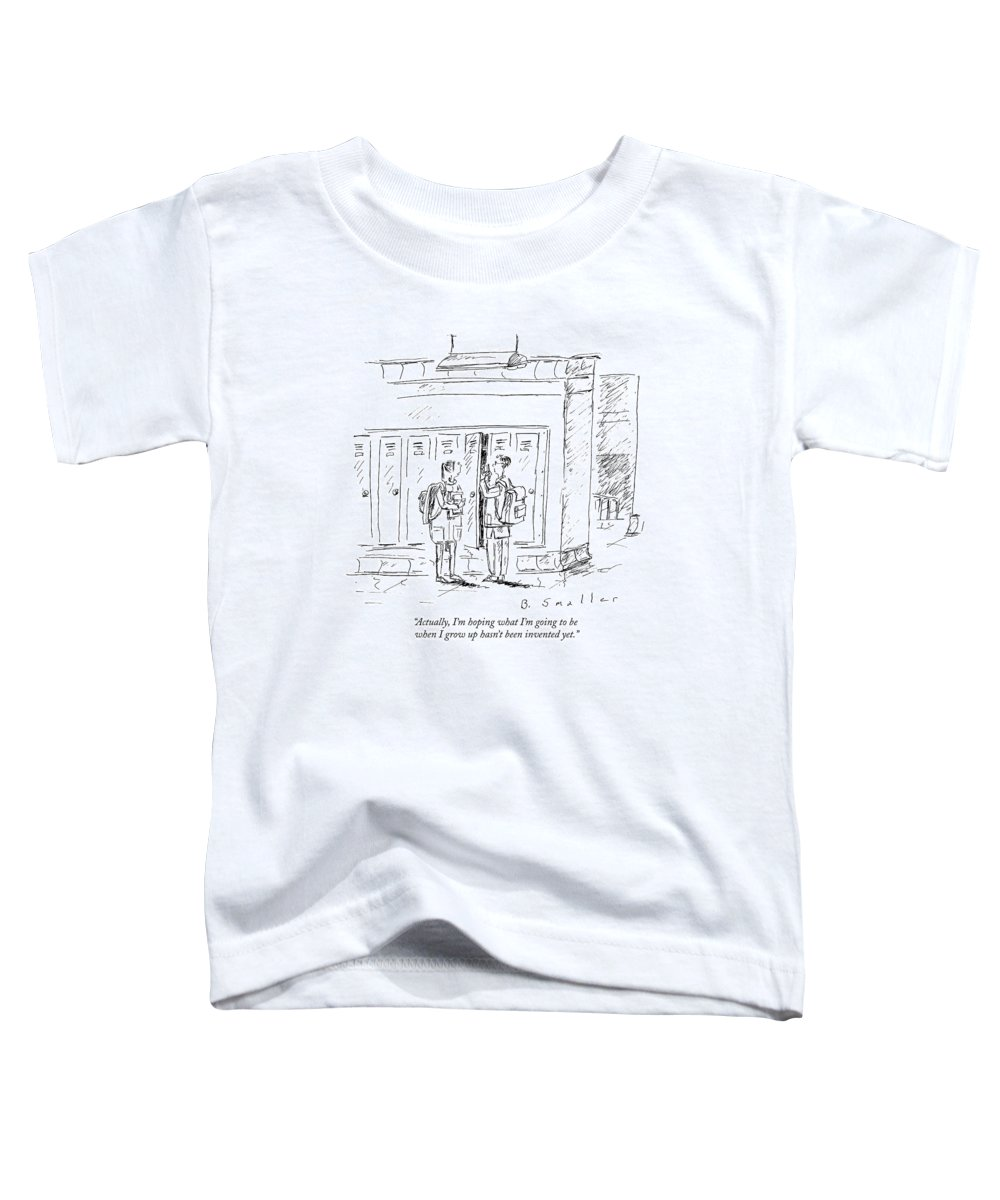 Hope Toddler T-Shirt featuring the drawing Actually, I'm Hoping What I'm Going To Be When by Barbara Smaller
