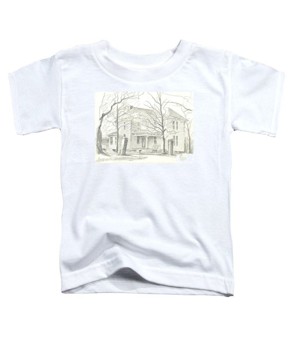 American Home Ii Toddler T-Shirt featuring the drawing American Home II by Kip DeVore
