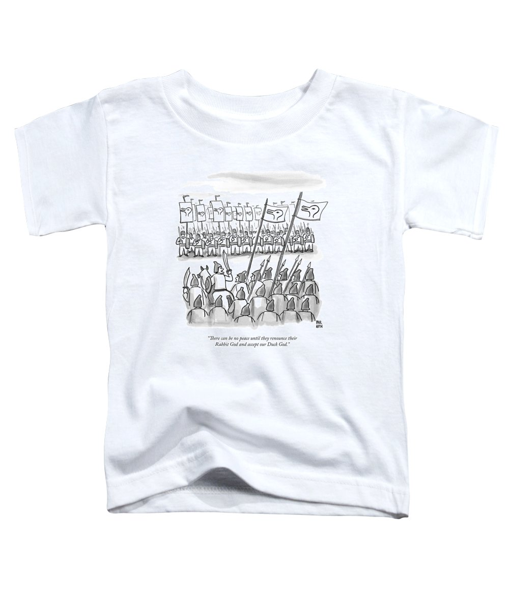 War Toddler T-Shirt featuring the drawing An Army Lines Up For Battle by Paul Noth