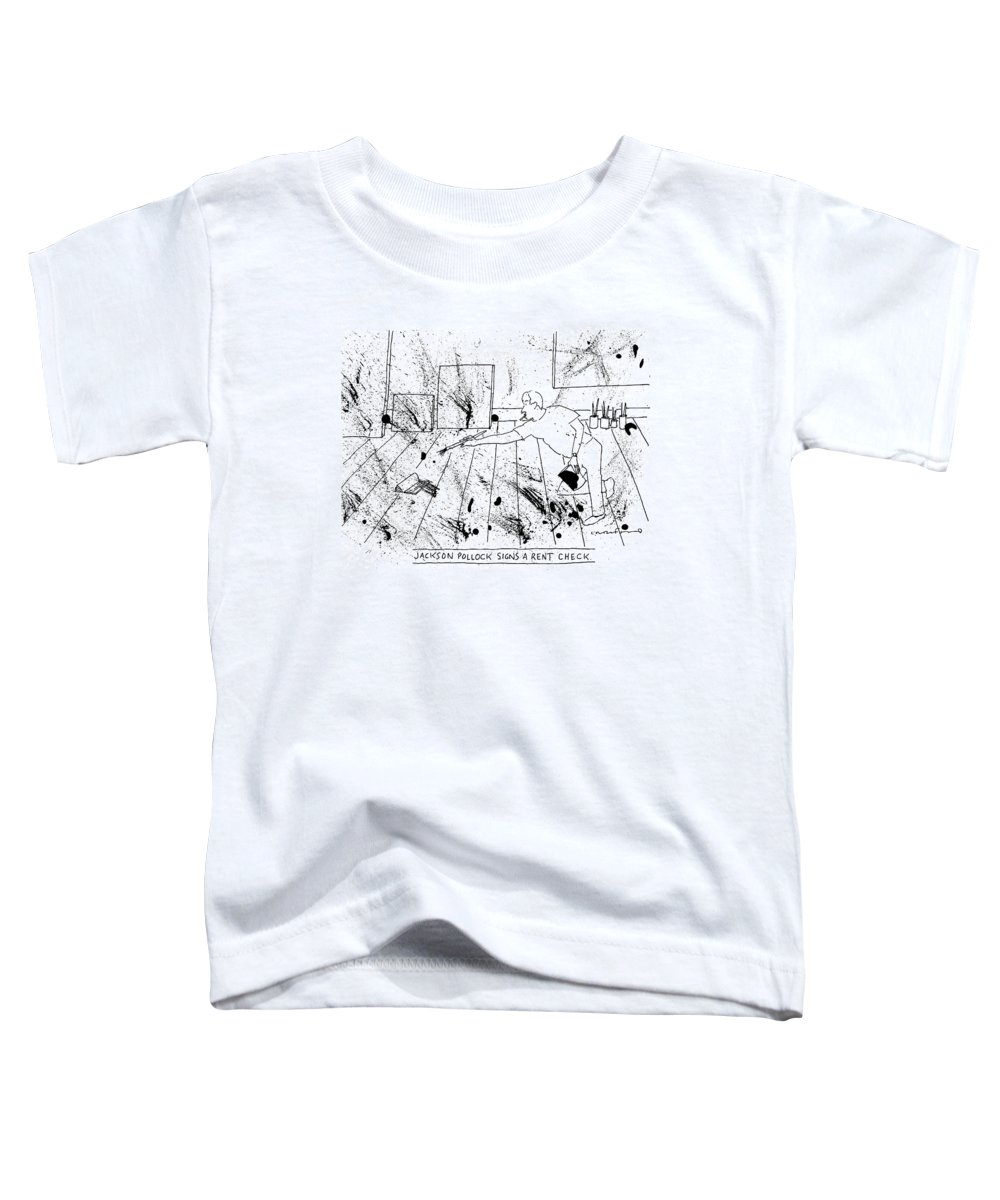 Captionless. Title: Pollock Toddler T-Shirt featuring the drawing An Artist, Presumable Jackson Pollock, Reaches by Michael Crawford