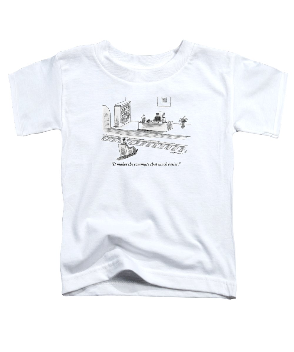 Trains Toddler T-Shirt featuring the drawing An Executive Sitting At His Desk Speaks To A Man by Mick Stevens