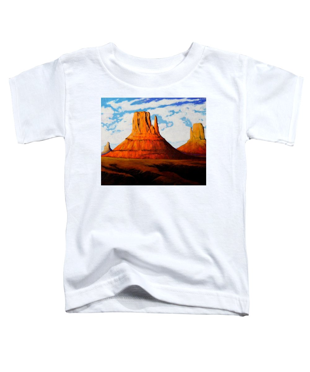 Landscape Of Western Usa Toddler T-Shirt featuring the painting Ancient Land Monument Valley by Joe Triano