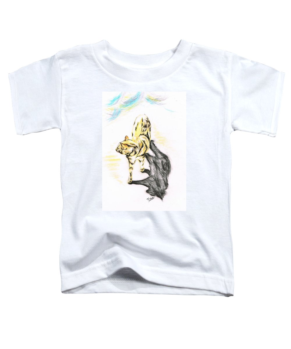 Teresa White Toddler T-Shirt featuring the drawing Another Cat Following by Teresa White