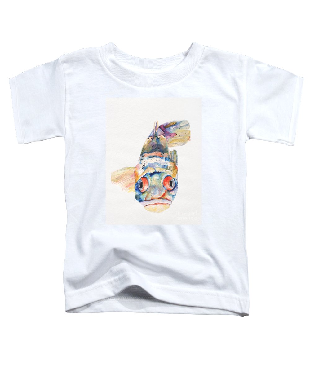 Pat Saunders-white Toddler T-Shirt featuring the painting Blue Fish  by Pat Saunders-White