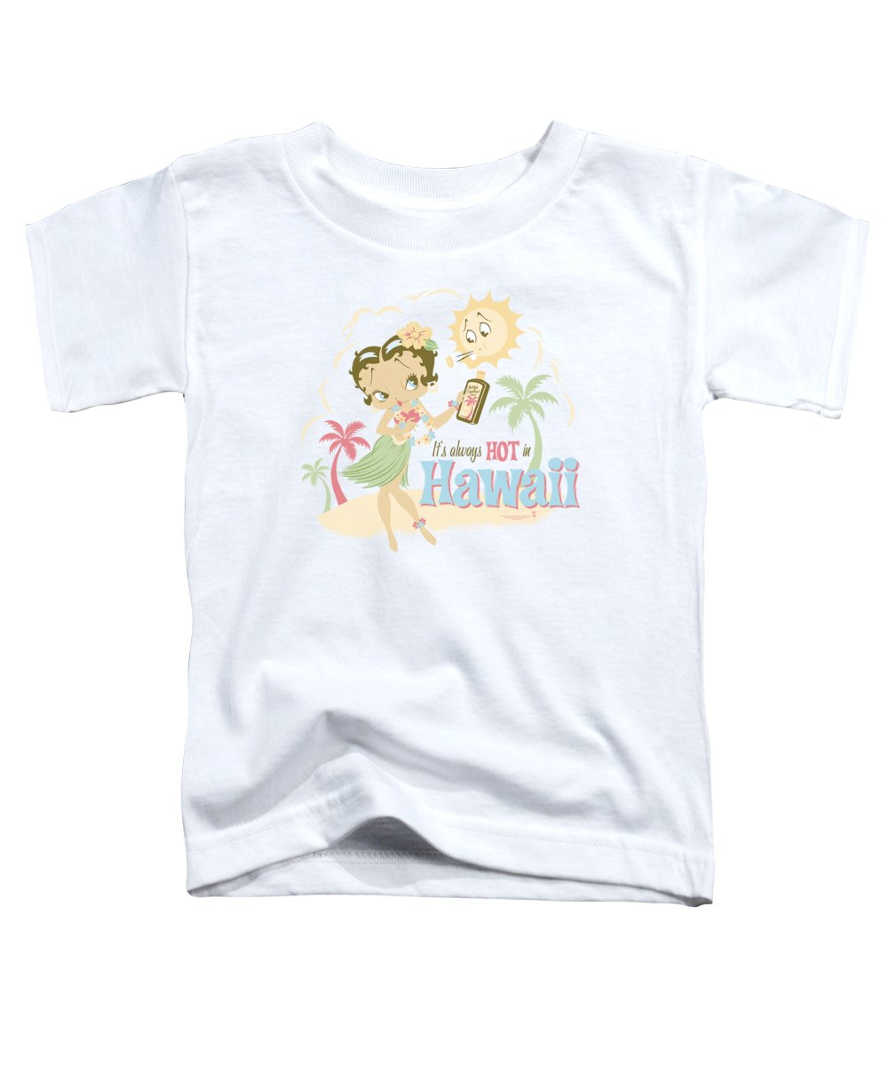 Betty Boop Toddler T-Shirt featuring the digital art Boop - Hot In Hawaii by Brand A