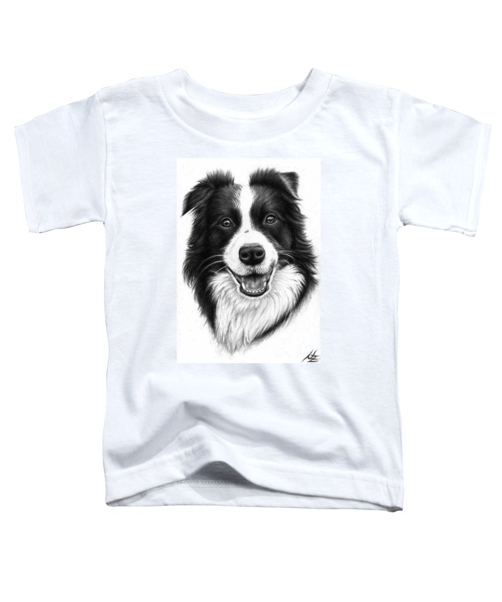 Dog Toddler T-Shirt featuring the drawing Border Collie by Nicole Zeug