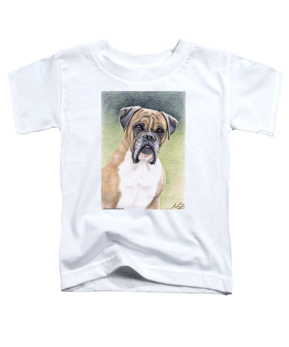 Dog Toddler T-Shirt featuring the drawing Boxer Portrait by Nicole Zeug