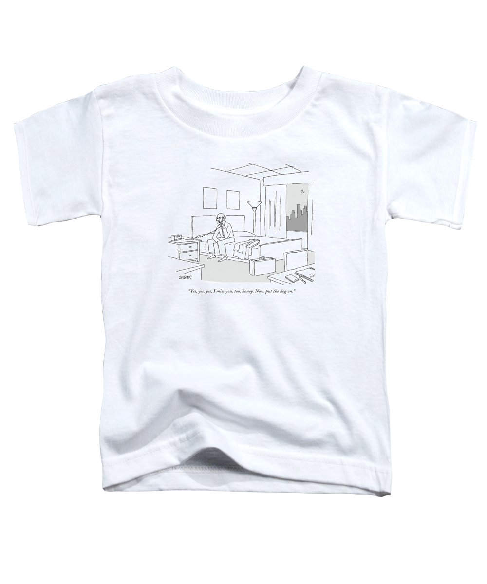 Relationships Pets Travel Problems  (businessman Sitting On A Bed In Hotel Room Talking On The Phone.) 121246 Jzi Jack Ziegler Topziegler Toddler T-Shirt featuring the drawing Businessman Sitting On A Bed In Hotel Room by Jack Ziegler