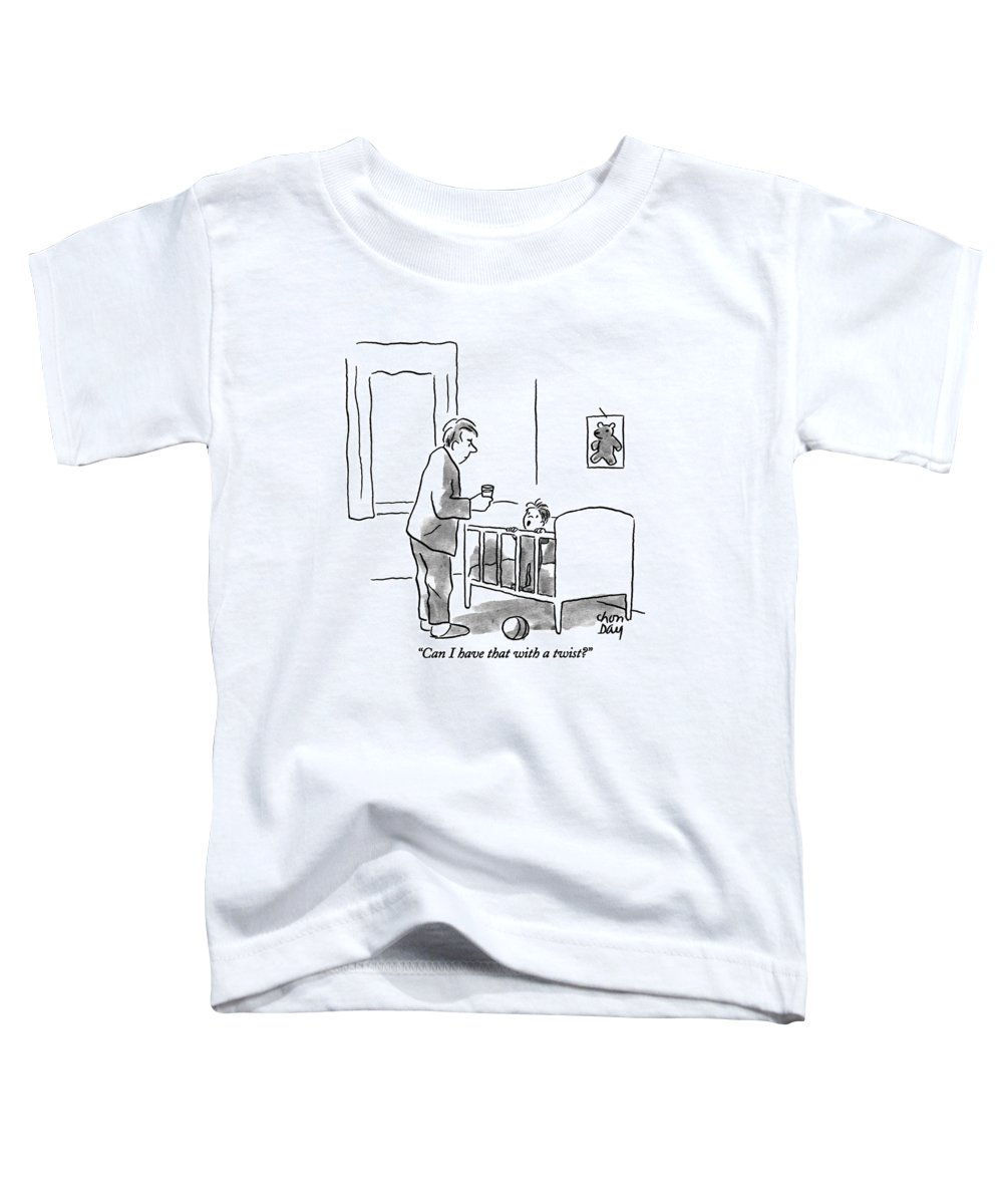 (boy In Crib Talking To Father Who Has Just Brought Him A Glass Of Water) Fatherhood Toddler T-Shirt featuring the drawing Can I Have That With A Twist? by Chon Day