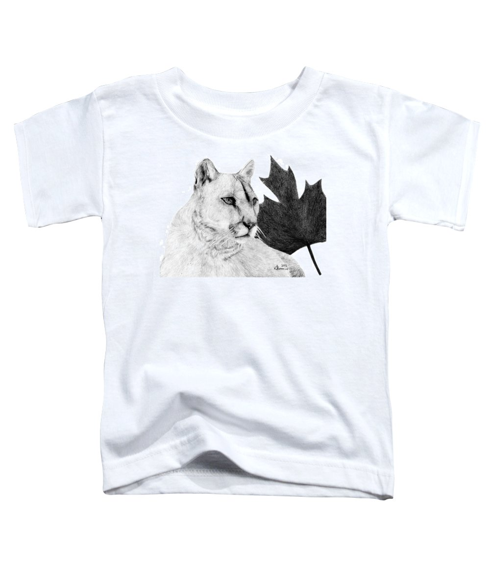 Cougar Toddler T-Shirt featuring the drawing Canadian Cougar by Kayleigh Semeniuk