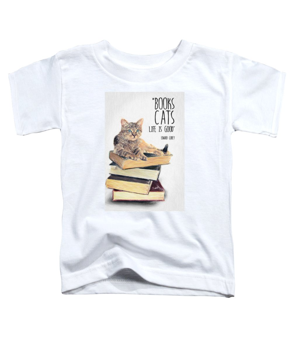 Edward Gorey Toddler T-Shirt featuring the drawing Cat Quote By Edward Gorey by Zapista OU