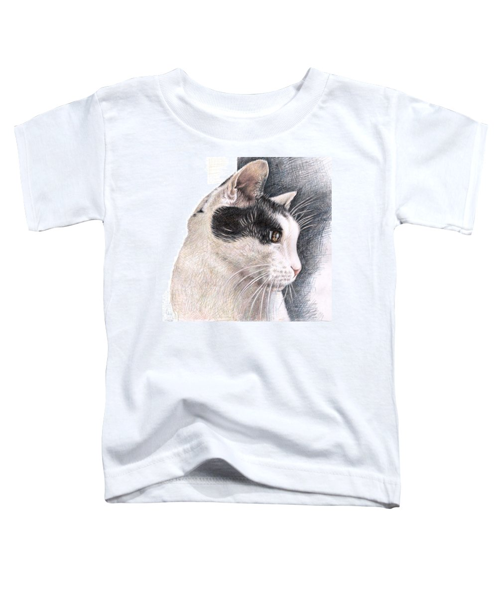 Cat Toddler T-Shirt featuring the drawing Cats View by Nicole Zeug
