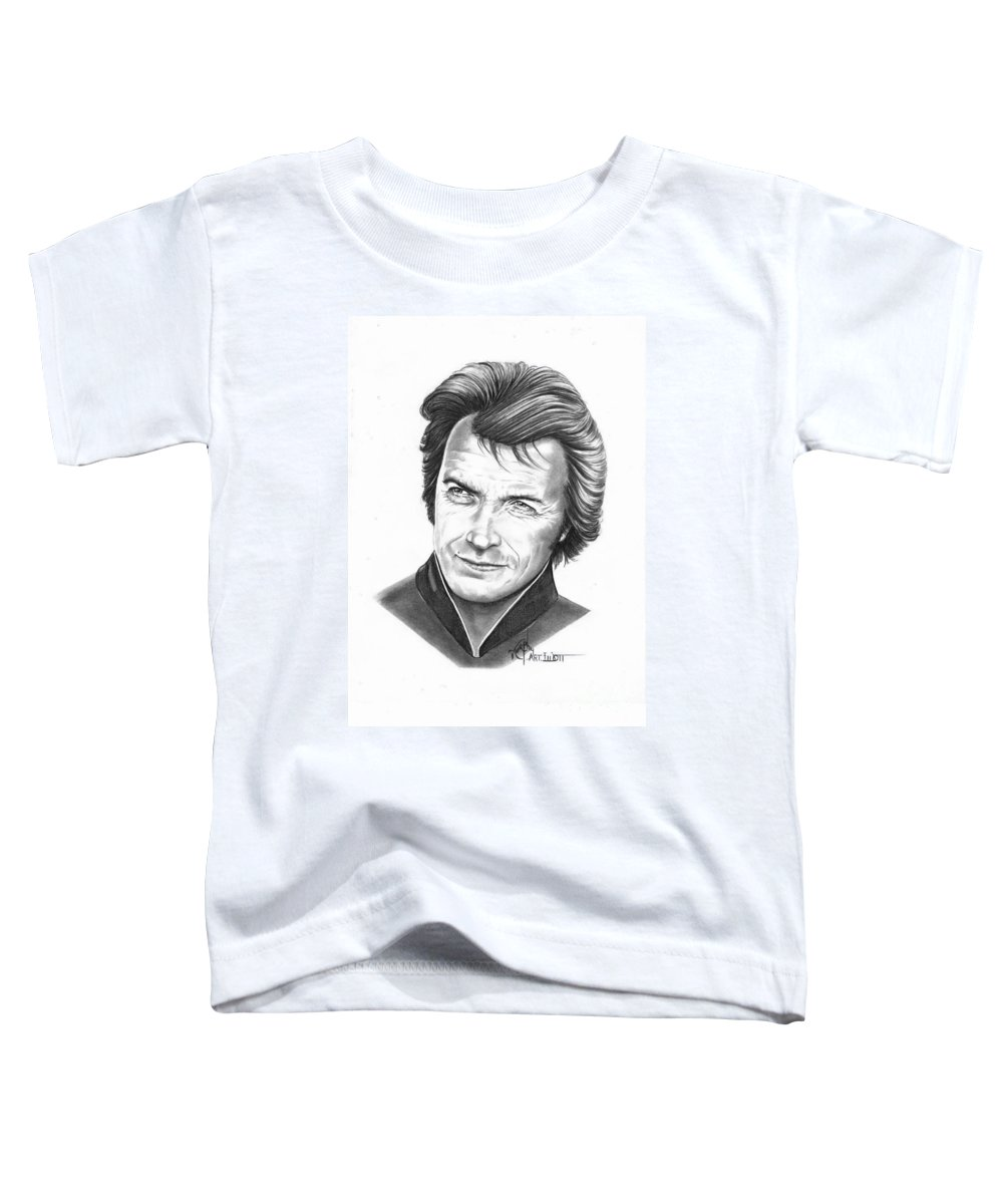 Portrait Toddler T-Shirt featuring the drawing Clint Eastwood by Murphy Elliott