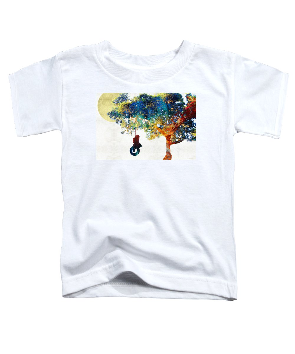 Tree Toddler T-Shirt featuring the painting Colorful Landscape Art - The Dreaming Tree - By Sharon Cummings by Sharon Cummings