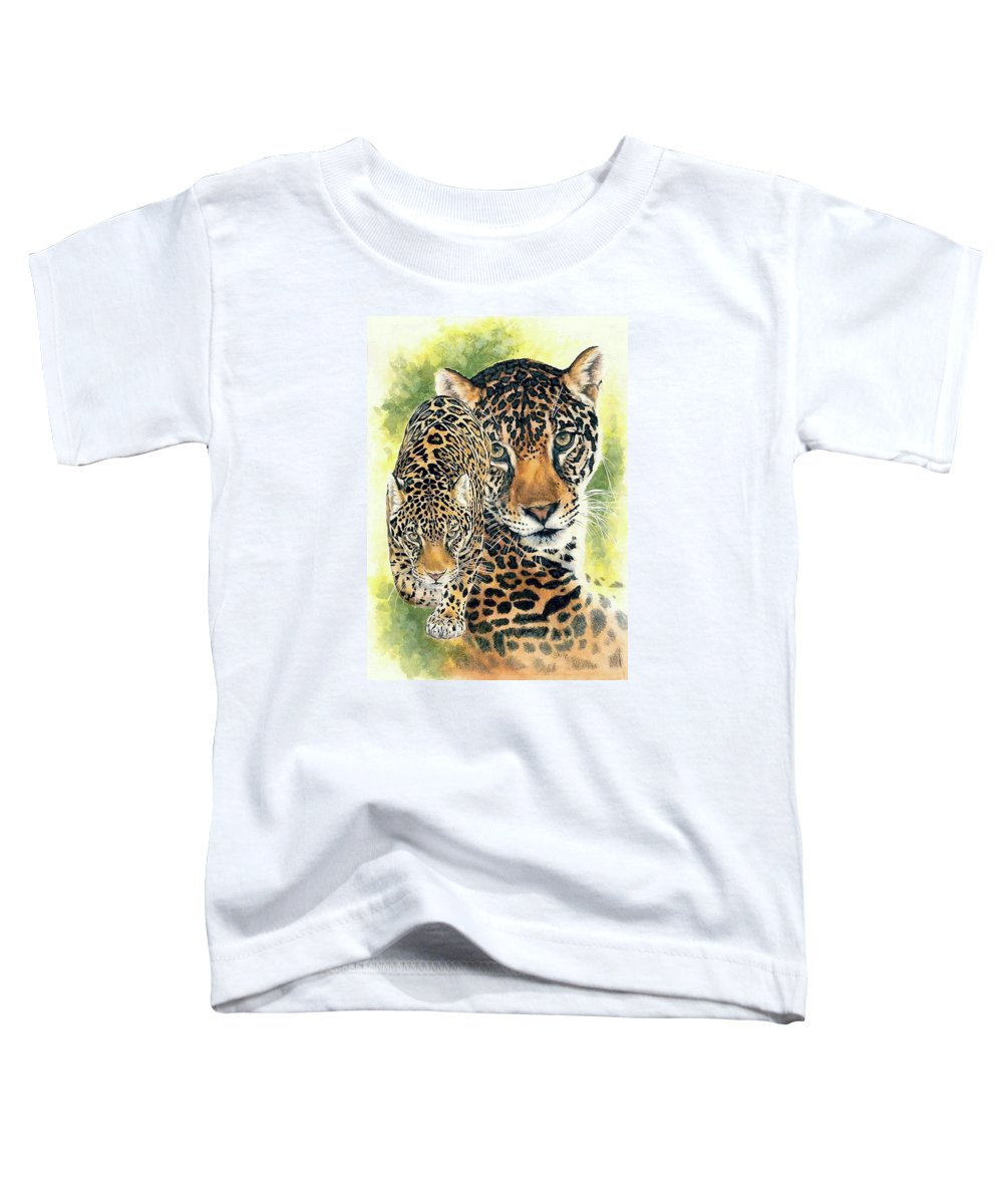 Jaguar Toddler T-Shirt featuring the mixed media Compelling by Barbara Keith