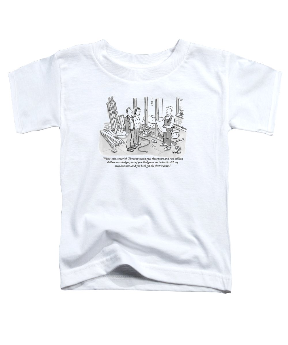 Renovation Toddler T-Shirt featuring the drawing Contractor Examining A Blueprint And Speaking by Robert Leighton