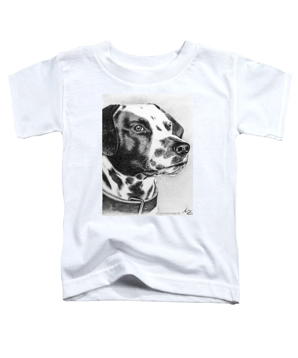 Dog Toddler T-Shirt featuring the drawing Dalmatian Portrait by Nicole Zeug