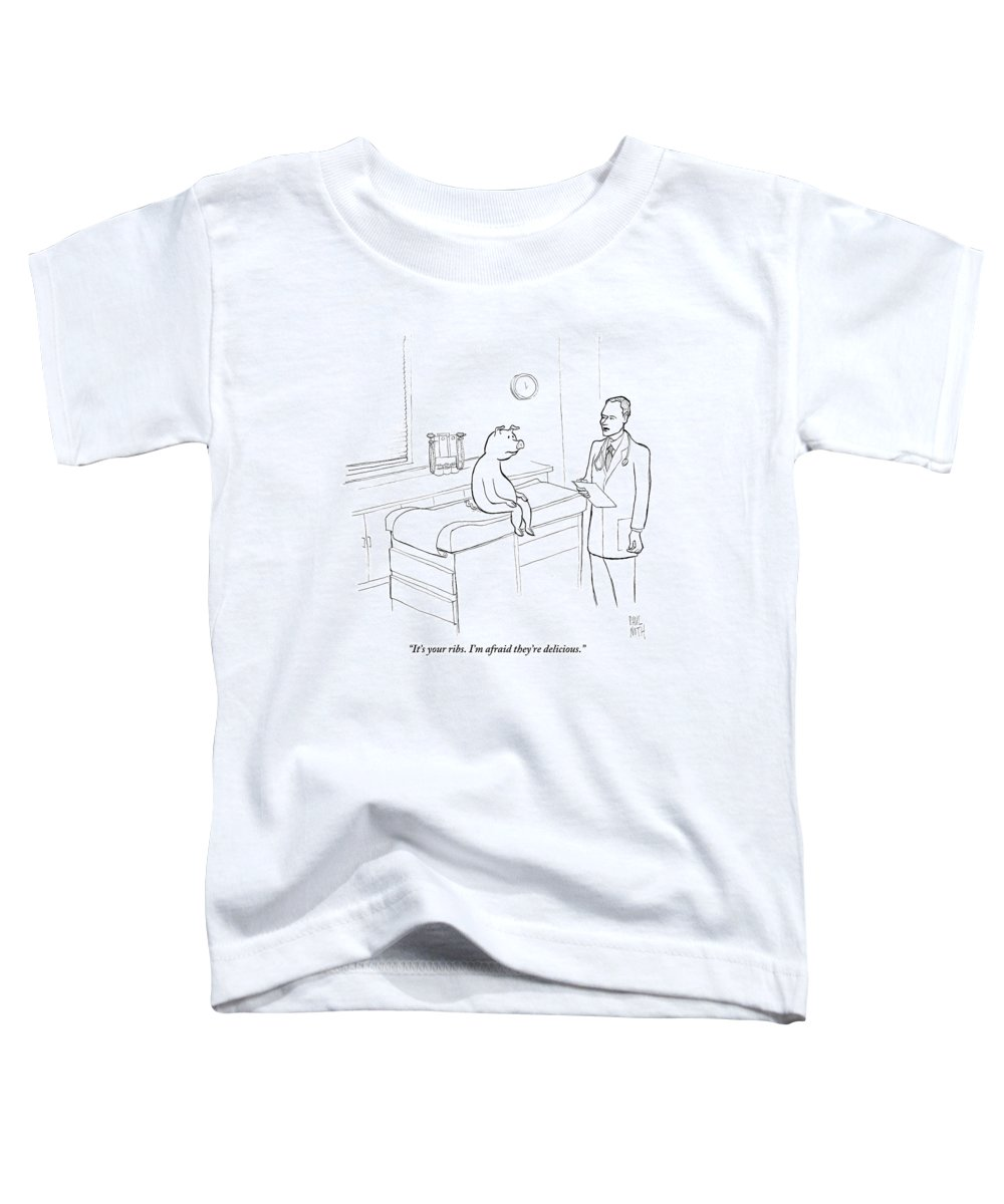 Pigs Toddler T-Shirt featuring the drawing Doctor To Pig by Paul Noth