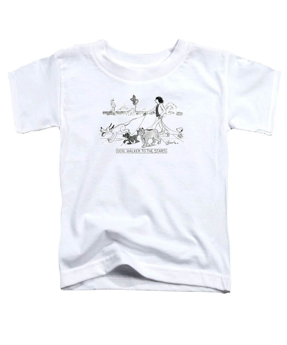 Pets Toddler T-Shirt featuring the drawing Dog Walker To The Stars by Edward Frascino