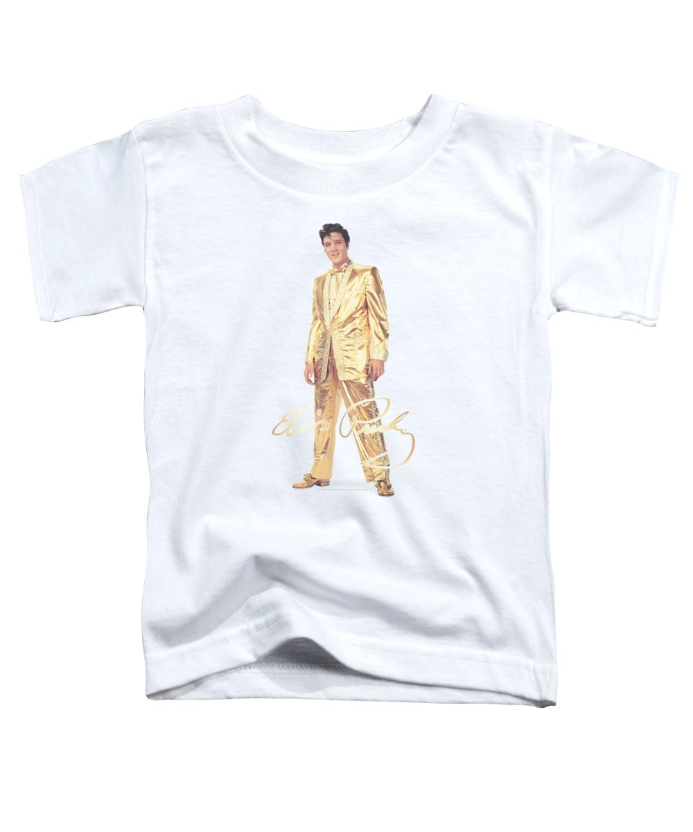 Elvis Toddler T-Shirt featuring the digital art Elvis - Gold Lame Suit by Brand A