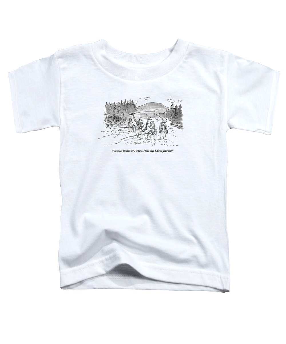 (man Answering Cellular Phone As He Stands Behind His Bosses Who Toddler T-Shirt featuring the drawing Fenwick, Benton & Perkins. How May I Direct by Bill Woodman