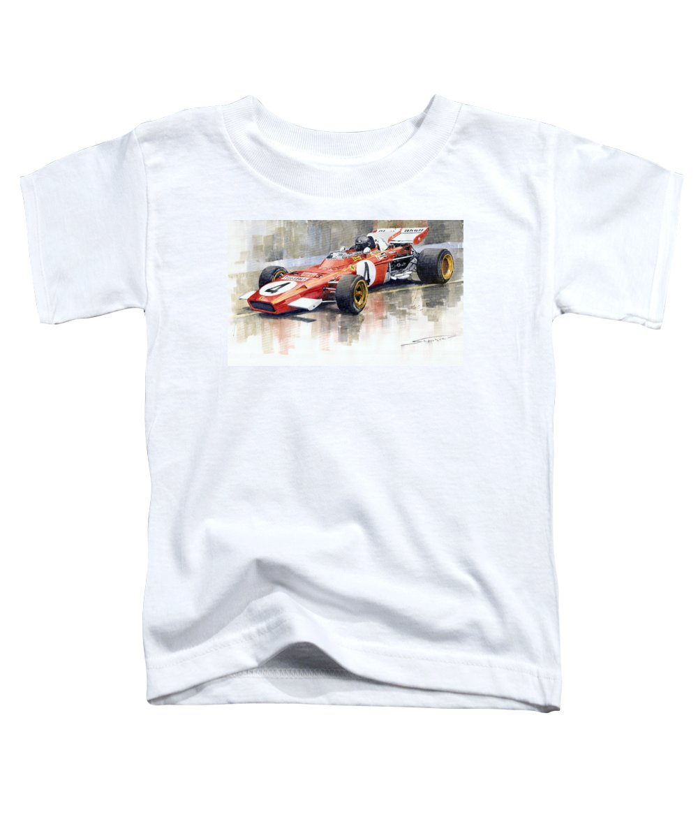 Watercolor Toddler T-Shirt featuring the painting 1971 Ferrari 312 B2 1971 Monaco Gp F1 Jacky Ickx by Yuriy Shevchuk