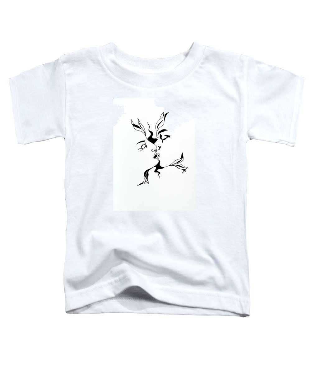 Love Toddler T-Shirt featuring the drawing First Kiss by Yelena Tylkina