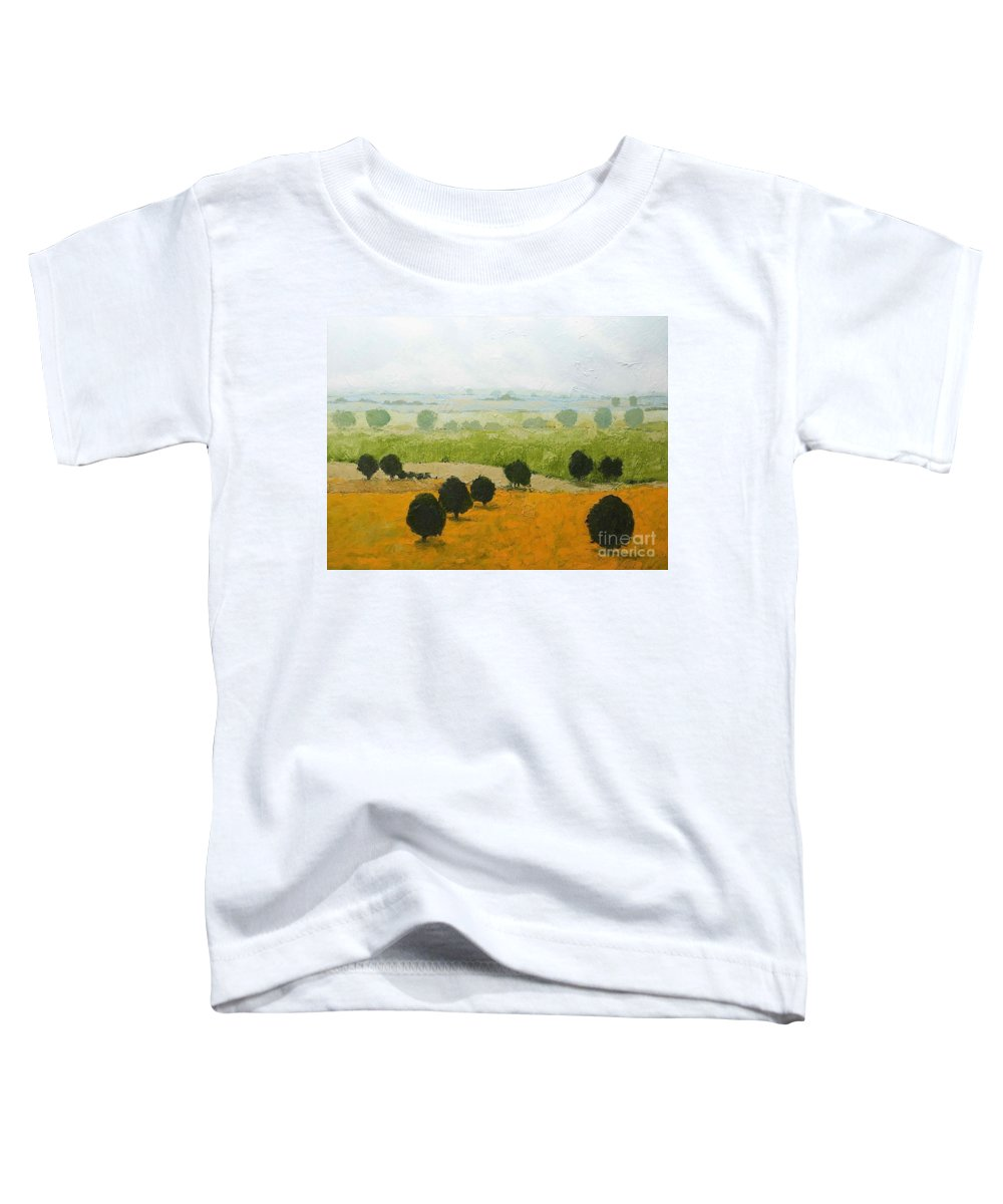 Landscape Toddler T-Shirt featuring the painting Fog Lifting Fast by Allan P Friedlander